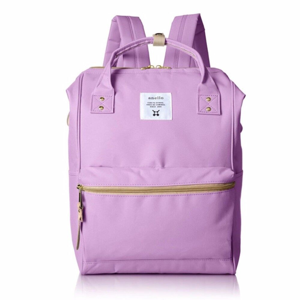 สอนใช้งาน  น่าน กระเป๋า Anello Canvas Unisex Backpack Lavender (Classic Size) - Japan Imported 100%