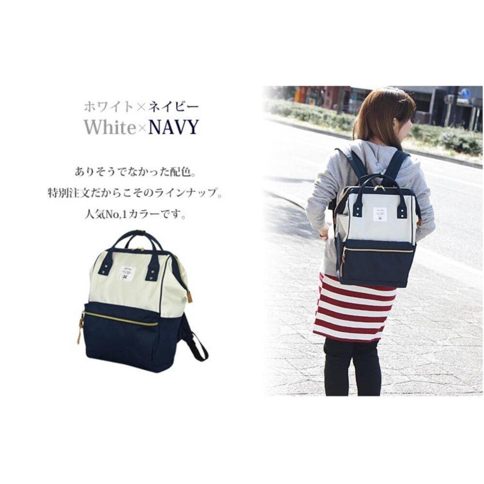 ยี่ห้อนี้ดีไหม  ฉะเชิงเทรา กระเป๋าเป้สะพายหลัง Anello Canvas Unisex Backpack White/Navy (Classic Size) - Japan Imported 100%