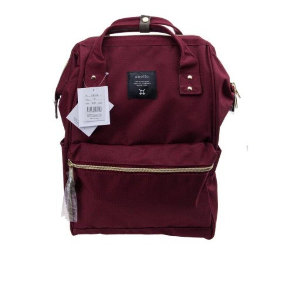 สอนใช้งาน  ตราด กระเป๋าเป้สะพายหลัง Anello Canvas Unisex Backpack Wine (Classic Size) - Japan Imported