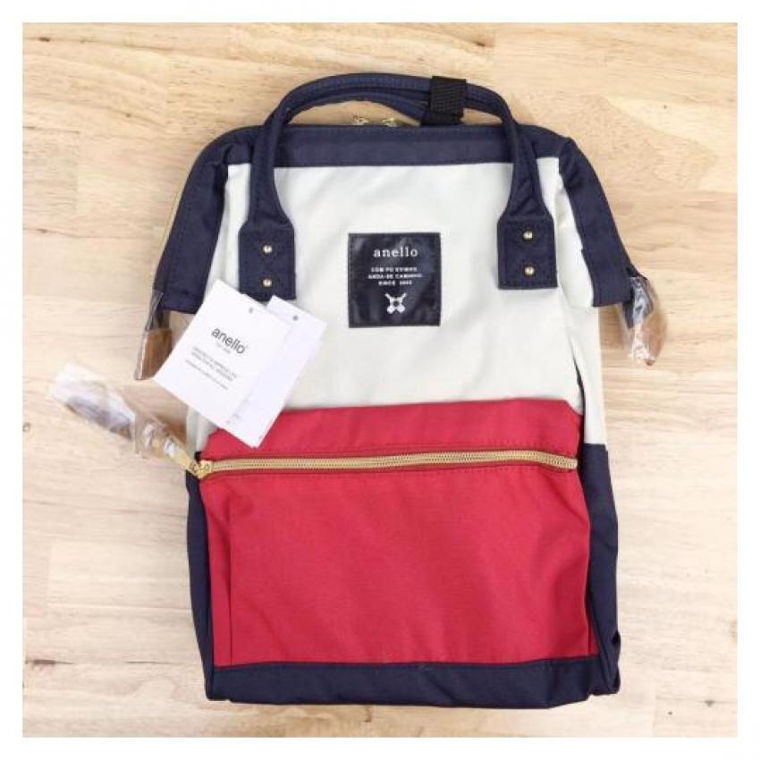 ยี่ห้อนี้ดีไหม  ขอนแก่น Anello กระเป๋าเป้ ของแท้ 100% ไซส์มาตราฐาน สี Tri-Color Polyester Canvas ทรง Rucksack