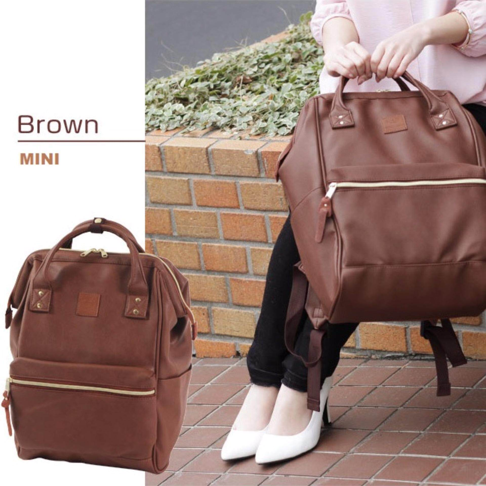 สอนใช้งาน  พังงา กระเป๋าเป้สะพายหลัง Anello PU Backpack Brown (Mini Size) - Japan Imported 100%