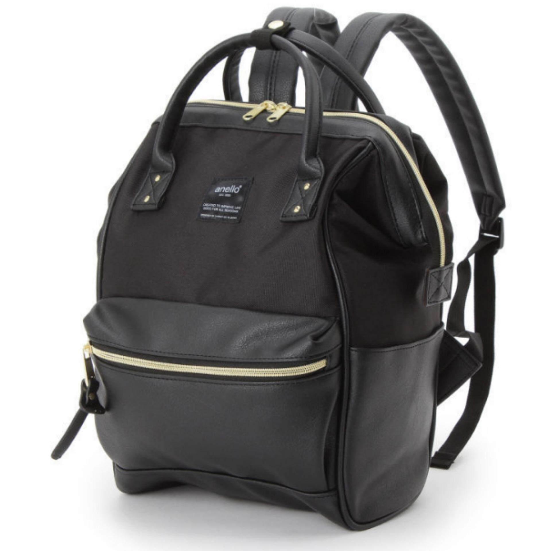 ยี่ห้อไหนดี  ชัยนาท กระเป๋าเป้สะพายหลัง Anello The Emporium Dark Black Japan Imported 100%