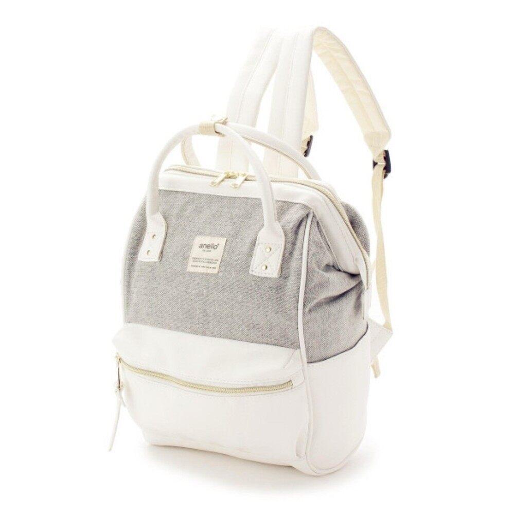 สอนใช้งาน  ภูเก็ต กระเป๋า Anello The Emporium Backpack Limited Edition - (Dark/White) (Mini Size) Japan Imported 100%