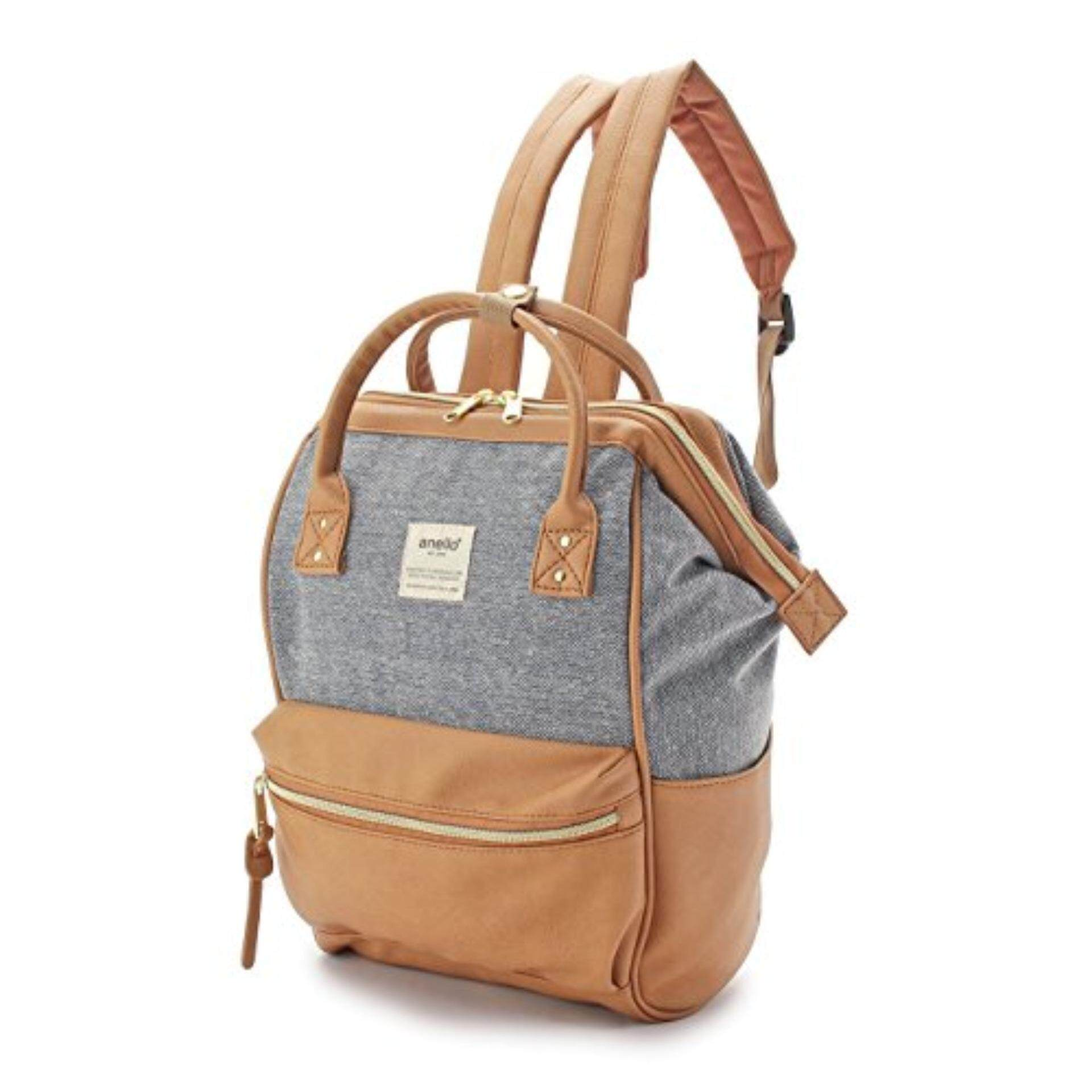 บึงกาฬ กระเป๋า Anello x The Emporium Canvas/PU Mini Camel beige (Mini Size) - Japan Imported 100%