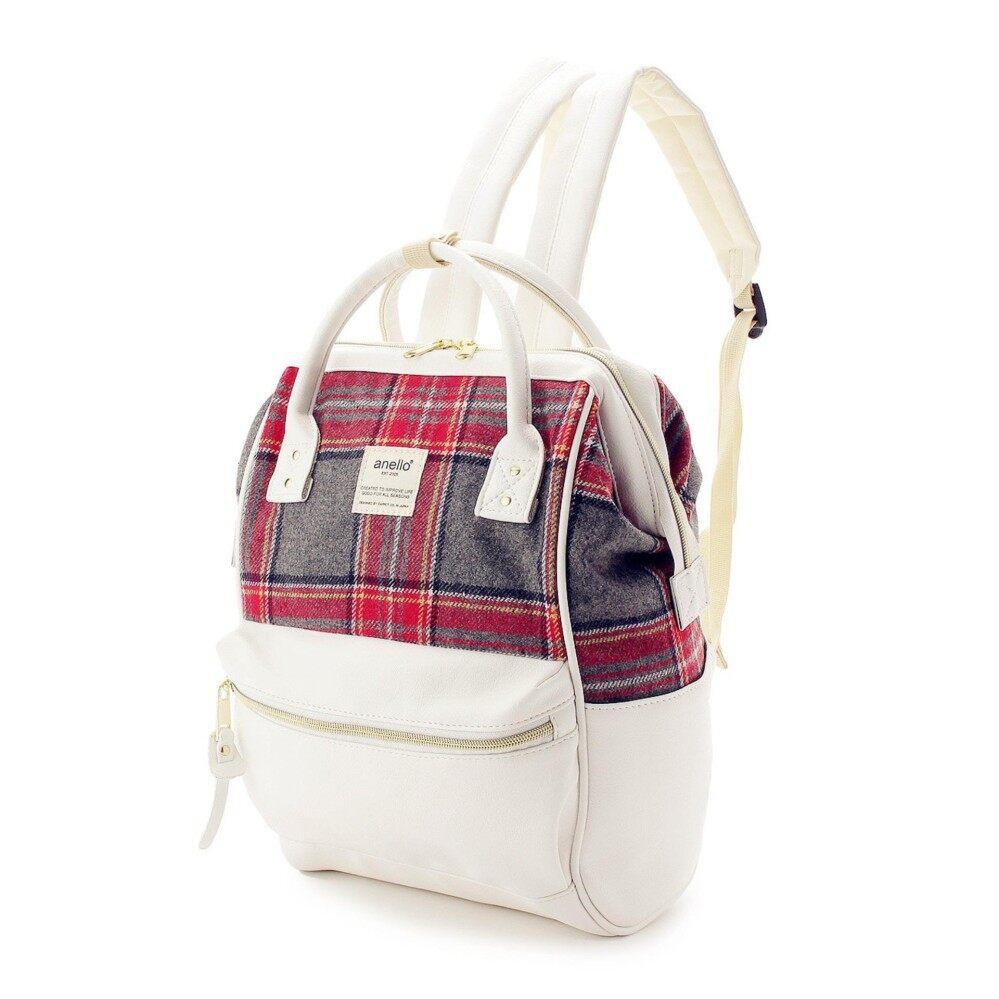 สินเชื่อบุคคลซิตี้  พิษณุโลก กระเป๋า Anello x The Emporium - Red Check x White (Japan Imported 100%)