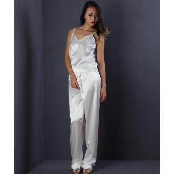Ange déchu ชดนอนซาติน ชุดนอนเซ็กซี่ ชุดนอนอย่างดี ชุดนอนน่ารัก ชุดนอนขายาว ของขวัญม ชุดนอนผู้หญิง (สีขาว)