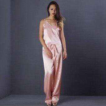 Ange déchuชุดนอนซาติน ชุดนอนเซ็กซี่ ชุดนอนดูดี ชุดนอนน่ารัก ชุดนอนผ้ามัน ชุดนอนผู้หญิง (สีส้ม)