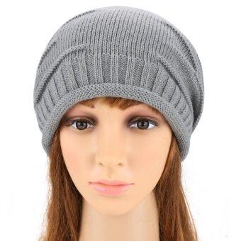 ไซเบอร์ ANGVNSยางรัดผมแฟชั่นไหมพรมถักบีนนี่เพศความอบอุ่นหมวกหมวกสกีไซส์ใหญ่พิเศษหมวก(สีเทา)