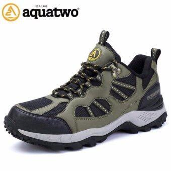 Aquatwo รองเท้าหนังแท้ กันน้ำอย่างดี สำหรับลุยป่า ปีนเขา รุ่น304 (สีเขียวเข้ม)
