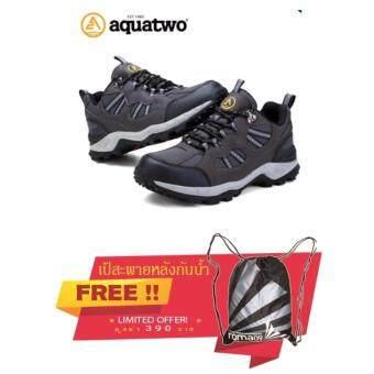 Aquatwo รองเท้าหนังแท้ กันน้ำอย่างดี สำหรับเดินป่า ปีนเขา วิ่งเทรล รุ่น 304 (สีเทา) แถมฟรี เป้สะพายหลังกันน้ำ มูลค่า 390 บาท