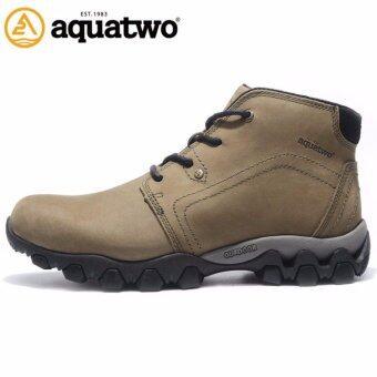 Aquatwo รุ่น S1022 รองเท้าหนังแท้ กันน้ำ100%สำหรับขาลุย เดินป่า ปีนเขา ลุยหิมะ ผจญภัย พื้นยางกันลื่น ดีไซน์สวยหรู (สีเขียวทหาร)