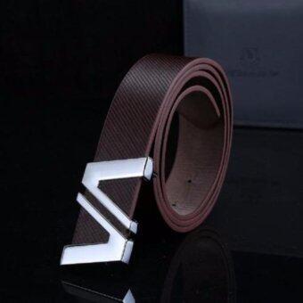 Areeya@Shop เข็มขัดผู้ชาย Men's Belt ( สีน้ำตาล) Belt-B15- Brown