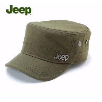 Areeya@shop หมวกแฟชั่นเกาหลี หมวกแก๊ป ปรับขนาดได้ สีเขียวมะกอก Army–Cap5- camouflage-olive