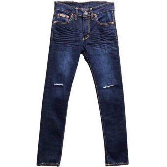 Artery Jeans ยีนส์ผ้ายืด /ขายาวเอวต่ำ /กีดขาดเข่า (สีมิดไนท์บูล)