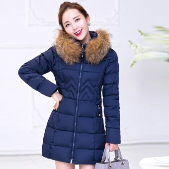 Autumn and winter new promotions Korean version of the down jacket women in the long paragraph was thin large yards cotton thick jacket jacket - intl