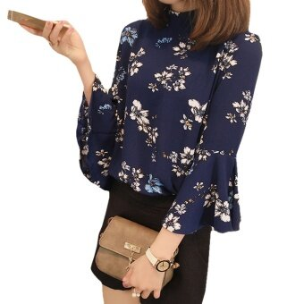 Autumn Floral Print Chiffon Blouse Women Tops Flare Sleeve Shirts Ladies Office Fashion Blusas Chemise Femme - intl