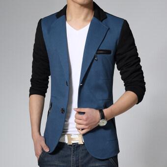 Autumn youth men's casual suit jacket fashion Slim paragraph Long Sleeve Outerwear Coat-BlueBlack - intl