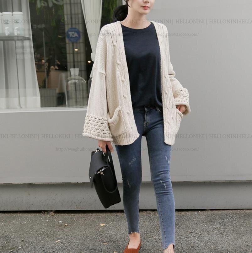 Autumn&Autumn&Winter Women's Long Sweater Cardigan Wide Sleeve Loose Sweater Coat Beige - intl