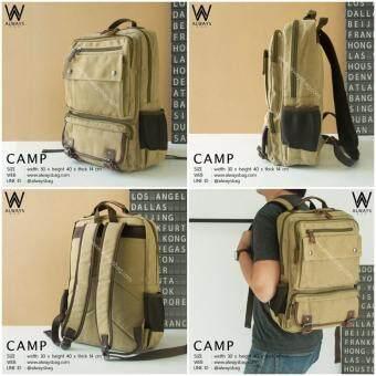 กระเป๋าเป้ กระเป๋าสะพายหลัง ผู้ชาย ผ้าแคนวาส AWB-CAMP สีกากี