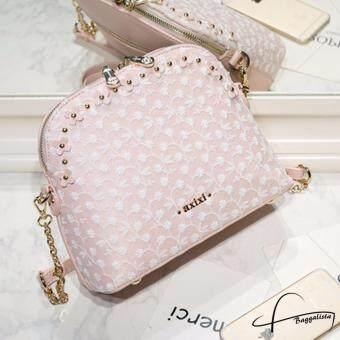 ประกาศขาย AXIXI กระเป๋าสะพายแฟชั่น Pink Floral Lace สีชมพู