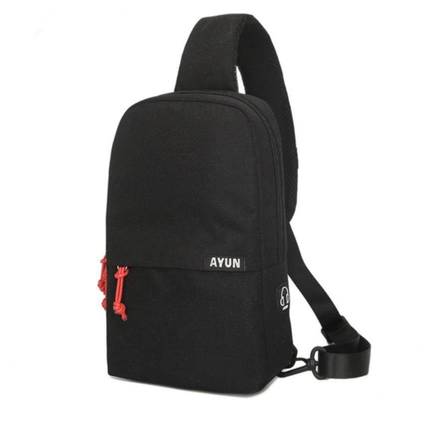 AYUN กระเป๋าคาดอก สะพายหลัง Oxford Chest Bag Korean Style รุ่น 809 สีเทาอ่อน-ดำ