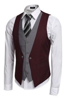 Harga Azone Coofandy Men's Formal Business Suit Vest (Wine Red) - Intl