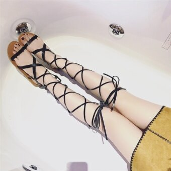 B-Panda Leather Tassel Gladiator Sandals Women Girls Knee High Summer Boots (Black) - intl