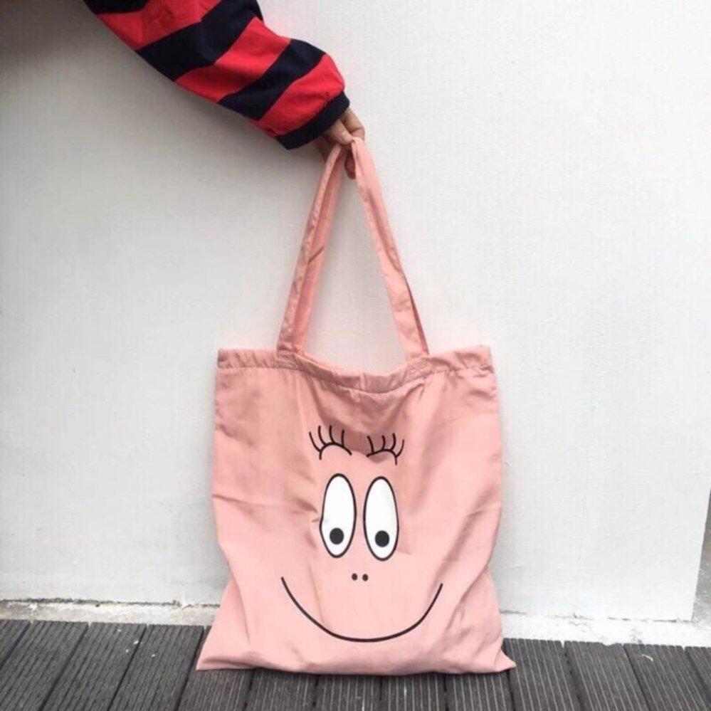กระเป๋าถือ นักเรียน ผู้หญิง วัยรุ่น ตราด กระเป๋าผ้า บาบาปาป้า  Babapapa Tote bag   มีซิป เนื้อผ้าแคนวาสสีชมพู ใส่A4ได้
