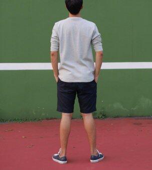 Backstitch เสื้อผู้ชาย เสื้อแขนสามส่วน สีเทา Rib Shirt Gray For Men - 2