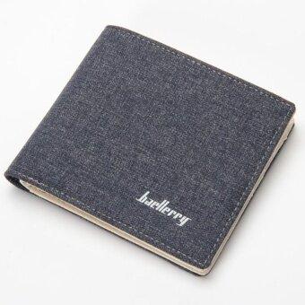 Baellerry Canvas Short Paragraph Mini Wallet Male Wallet -Brown -intl - 2
