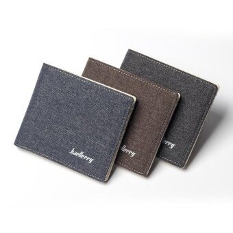 Baellerry Canvas Short Paragraph Mini Wallet Male Wallet -Brown -intl - 4