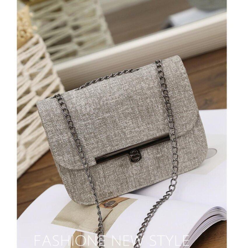 Bag Fashion กระเป๋าสะพายข้าง/พาดลำตัว ทรงเหลี่ยม สายสะพายโซ่(สีเทา)รุ่น0020