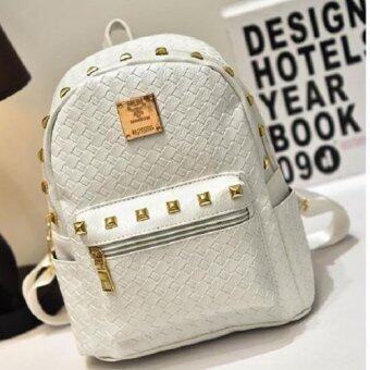 กระเป๋าสะพายหลัง กระเป๋าแฟชั่นสตรี ลายหนังจระเข้ รุ่น035 (สีขาว)