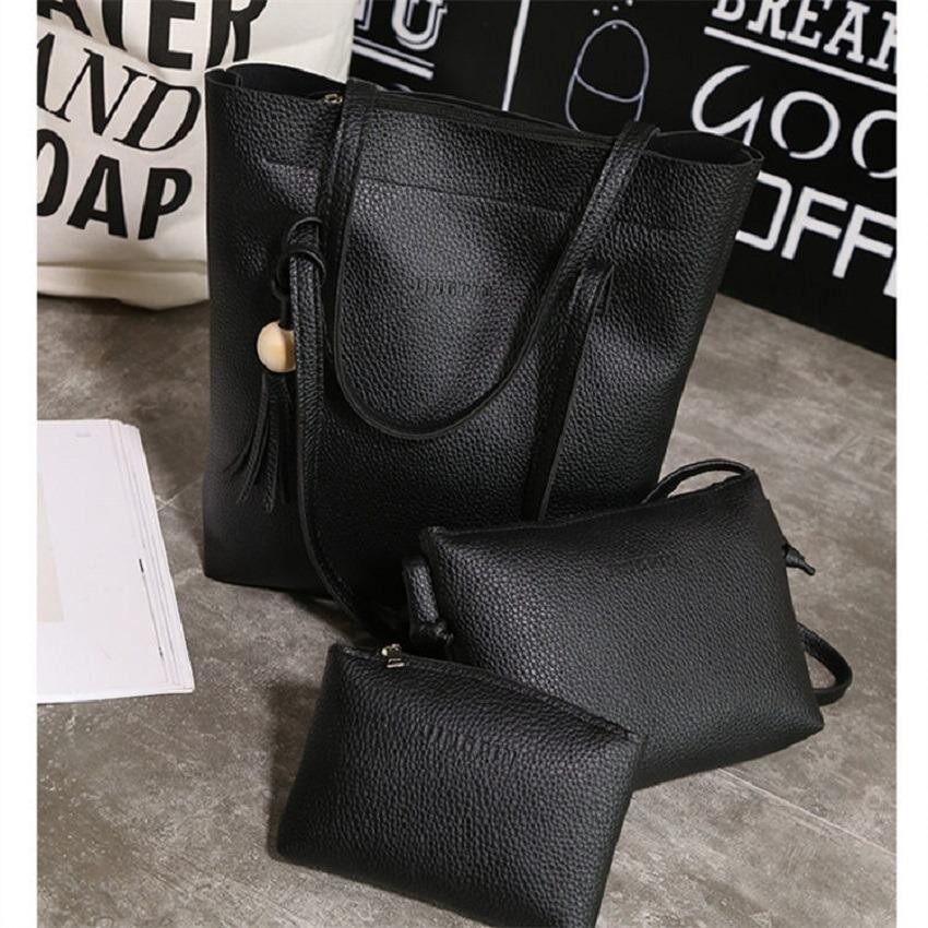 กระเป๋าสะพายพาดลำตัว นักเรียน ผู้หญิง วัยรุ่น สมุทรปราการ Bag Fashion กระเป๋าเซ็ต 3 ใบ กระเป๋าถือ กระเป๋าสะพาย กระเป๋าสะพายไหล่  สีดำ  รุ่น 102