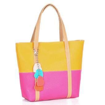 เปรียบเทียบราคา กระเป๋าสะพายข้างแฟชั่นสายสีทอง (สีเหลือง+สีชมพู) รุ่น419