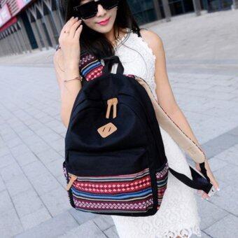 Bag Fashion กระเป๋าเป้สะพายหลัง กระเป๋าลายผ้าซินชาวเหนือ รุ่นMM (สีดำ)