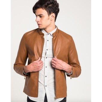 เสื้อแจ็คเก็ต B&B Sheriff Stand-collar Leather สีน้ำตาล C168
