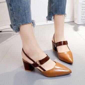 Baotou หยาบกับเข็มขัดตกแต่งรองเท้าส้นสูงรองเท้าแตะ (สีน้ำตาล)