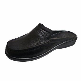 BATHADEE รองเท้าแตะลำลอง หนังเทียม สีดำ รุ่น 1011