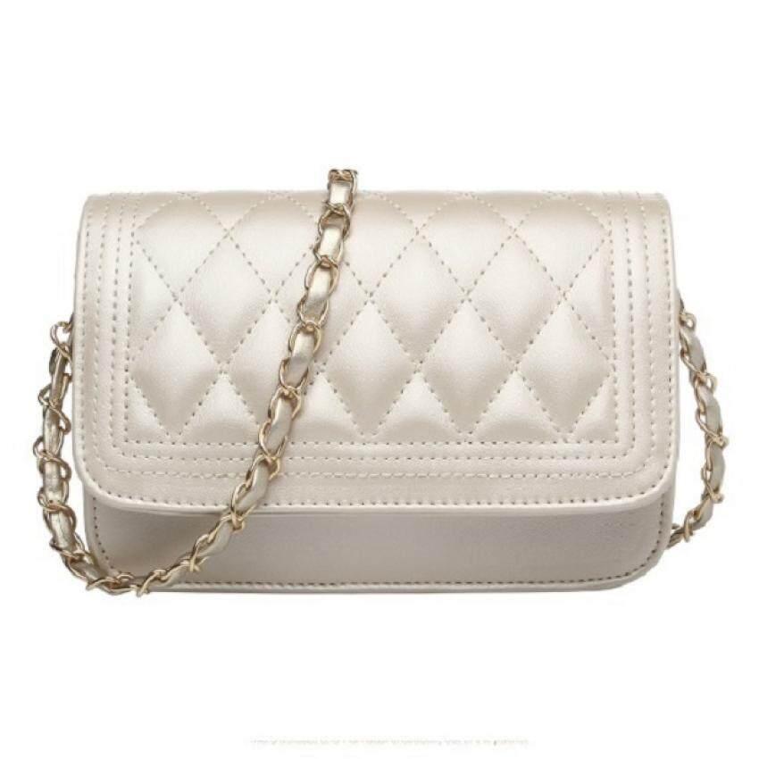 กระเป๋าเป้ นักเรียน ผู้หญิง วัยรุ่น สงขลา BB Bags  กระเป๋าแฟชั่น กระเป๋าสะพายข้าง สายถักสีทอง รุ่น301  สีขาว