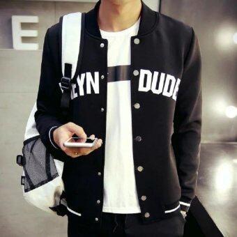 BB Ole Style เสื้อคลุม เสื้อกันหนาวแขนยาว แต่งกระดุม (สีดำ) รุ่น1817