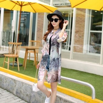 Beach sunscreen clothing girls long Korean all-match Chiffon printed cardigan sweater shawl thin air conditioner - intl