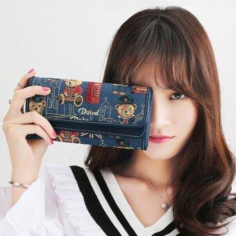 Beauty bag กระเป๋าสตางค์ใบยาว กระเป๋าเงินผู้หญิงกระเป๋าสตางค์น่ารัก ลายหมี รุ่น LW-033 (สีกรม)