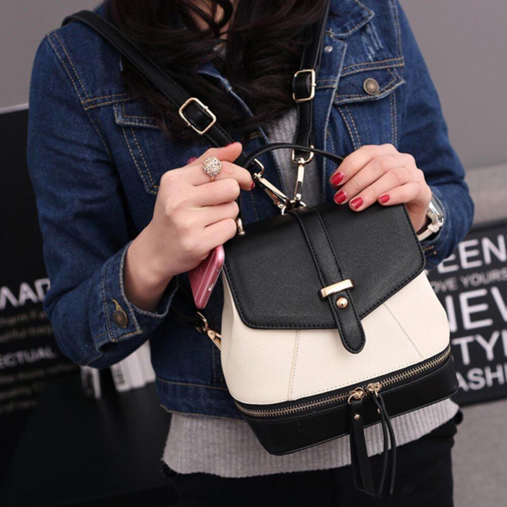 ระยอง Beauty Bags กระเป๋าเป้สะพายหลัง กระเป๋าเป้เกาหลี backpack women กระเป๋าสะพายหลังผู้หญิง รุ่น CP 060  สีดำ ขาว