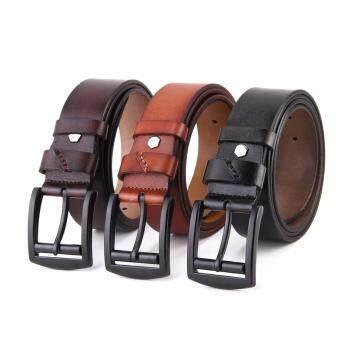 เข็มขัดผู้ชาย เข็มขัด ผู้ชาย เข็มขัด หนังแท้ Belt Mens JeansCasual Waistband Dress Genuine Leather Belt Pin Metal Buckle Strap- Brown