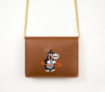 Bentoy การ์ตูนปักแบบพกพาขนาดเล็กกระเป๋าสตางค์กระเป๋าแนวทแยง (สีน้ำตาลเพนกวิน)