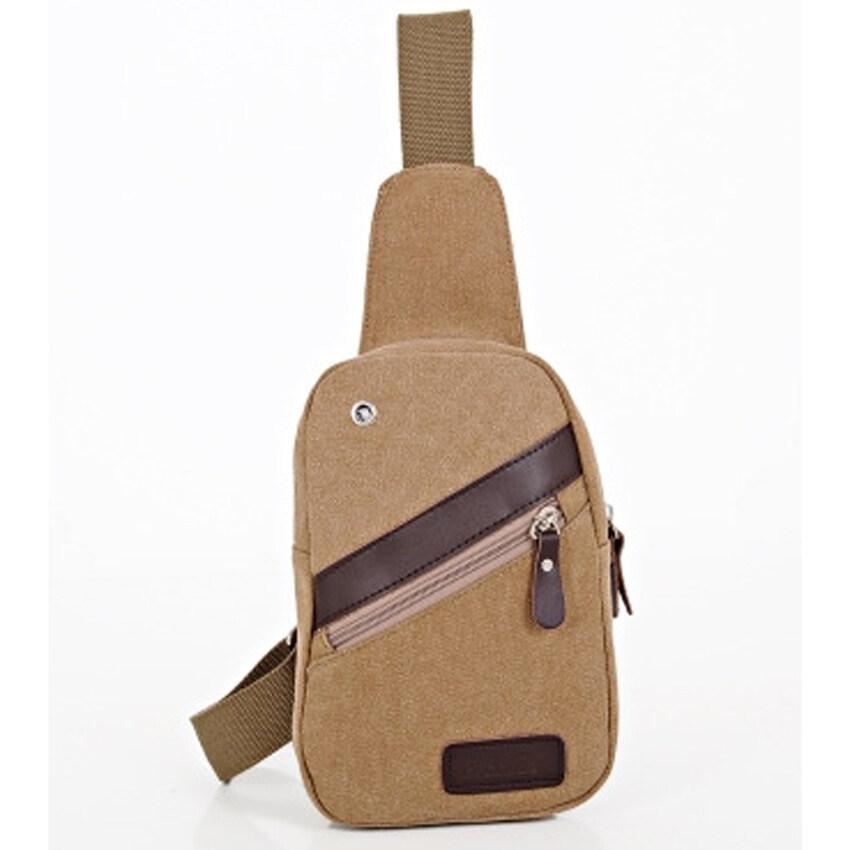 BEST  HS กระเป๋าคาดอก สะพายไหล่ ผู้ชาย ผ้า Canvas รุ่น HSMB0003  ขนาดเล็ก -Khaki