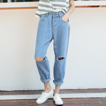 BF เกาหลีสีดำเป็นบางดัดผมกางเกงฮาเร็มกางเกงยีนส์หลุม (แสงสีฟ้า)