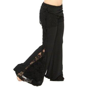 [BLACK] Stylish Mid Waist Lace Spliced Pure Color Elastic Flare Pants for Women - intl
