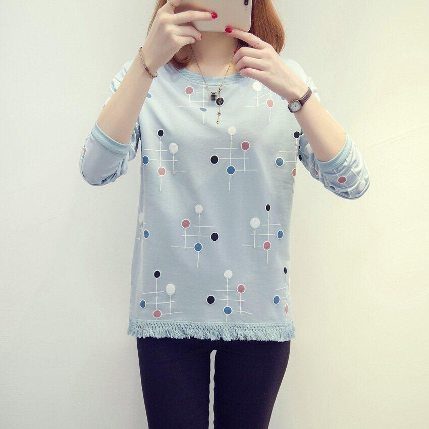 หลวมเกาหลีฝอยหญิงฤดูใบไม้ผลิและฤดูใบไม้ร่วง bottoming เสื้อเสื้อยืด (120 * * * * * * * แขนยาวพู่สีฟ้า)